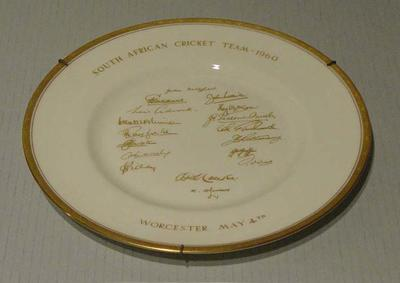 """Plate, """"South African Cricket Team - 1960"""""""