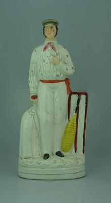 Ceramic Staffordshire figurine of English cricket captain George Parr, 1830