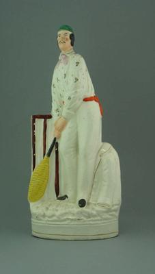 Ceramic Staffordshire figurine of English cricketer Julius Caesar, 1830