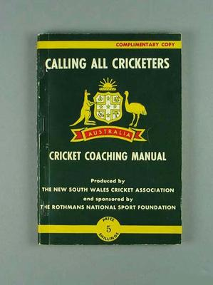 "Book, ""Calling All Cricketers - Cricket Coaching Manual"""