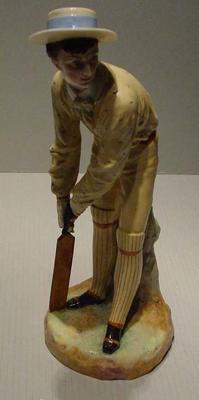 Staffordshire Victorian ceramic figurine, cricket player