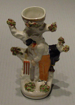Ceramic Staffordshire spill vase with figure of Fuller Pilch, 1840