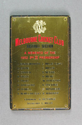 Plaque, Melbourne Cricket Club Baseball Section - Premiers, 3rd IX - 1952
