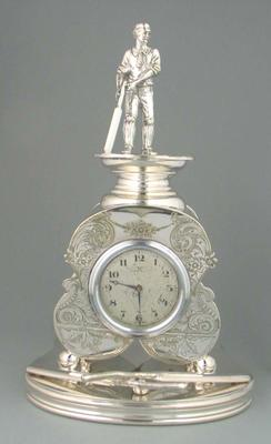 Clock trophy presented to Lord Harris by Kent Cricket, Canterbury  1893