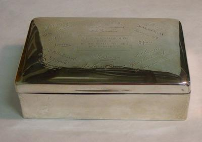 Silver cigar box presented to P.F. Warner by the English Cricket team, 1932-33