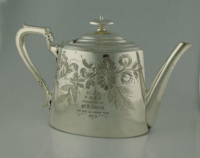 Teapot inscribed 'P.A.C.C. Presented to Mr. B. Green Best all round play 1907-8'