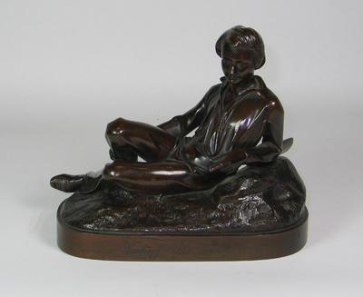 "Bronze figurine, ""Waiting his innings"" by J. Durham, c. 1863; Domestic items; M6766"