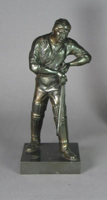 Bronze figurine of a cricket batsman by J. Durham, c. 1863; Domestic items; M6769