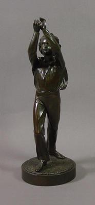 Bronze figurine of a cricket fielder by J. Durham, c. 1863