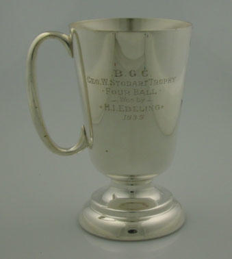 Cup - B.G.C. Geo W Stoddart Trophy, 4 ball, won by H.I. Ebeling 1939