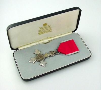 M.B.E. awarded to Hans Irvine Ebeling with black case.