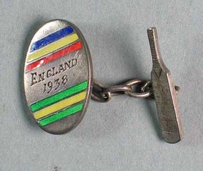"""Pair of cufflinks engraved """"England 1938"""" - England -v- Australia Test"""