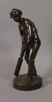 Bronze figurine of a cricket batsman by J. Durham, c. 1863; Domestic items; M6770