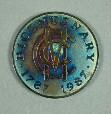 Commemorative silver medallion & case - Marylebone Bicentenary 1787-1987; Civic mementoes; Civic mementoes; M6796.1