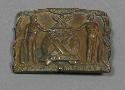 Buckle/clasp inscribed 'England, Canada, Australia' c. 1868