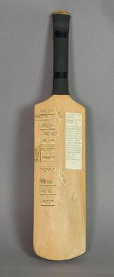 Miniature bat:  'Centenary Test Australia England' signed by English players 1977; Civic mementoes; M6804