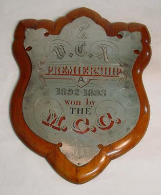 Shield - V.C.A. Premiership 1892-93 Won by the M.C.C.; Trophies and awards; M6849