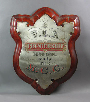 "Shield -""V.C.A. Premiership 1890-91 won by the M.C.C.; Trophies and awards; M6851"