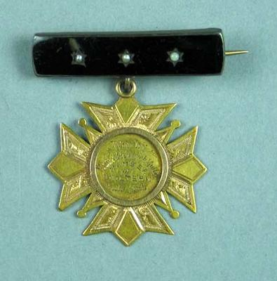 Gold medal on brooch bar awarded to Ernest Frederick Muller, Chiltern Rifle Club 1891