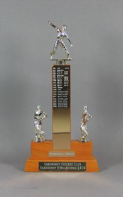 Trophy, Sandhurst Cricket Club v MCC XXIX Club 1983-2002