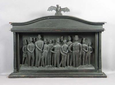 Carved wood bas-relief of All England XI c. 1847