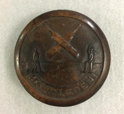 Snuff box lid: raised inscription - 'Hambleden' - inscription 'Joe Wellington 1830'