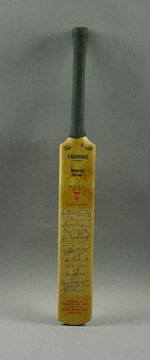 Miniature Gradidge bat, presented by Rothmans Pall Mall to Lord's Taverners