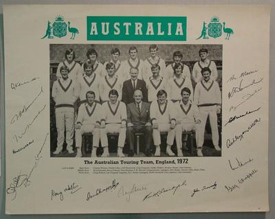 Photograph: The Australian XI Touring Team, England 1972, with autographs