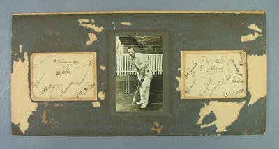 Inscribed photograph by cricketer J.B. Hobbs together with signature cards English XI 1928/29