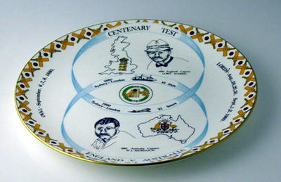 "Commemorative Plate:  ""Centenary Test 1880 - 1980"""