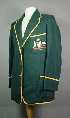 Australian Cricket Team Blazer 1954-55, worn by Peter Burge; Clothing or accessories; M6951