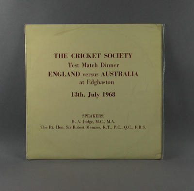 "Record cover, ""The Cricket Society Test Match Dinner"" - 13 July 1968"
