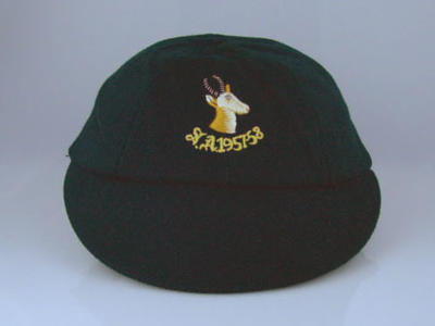 South African cricket cap embroidered 'S.A. 1957-58'