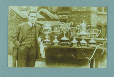 Photograph of Frank Beaurepaire with trophies won, Manchester 1910