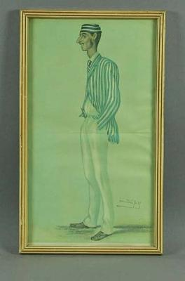 Print of  Fred Spofforth,  'The Demon Bowler'.  Artist is Spy, publisher Vanity Fair; Artwork; Framed; M6971