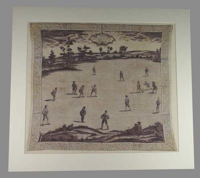 """Handkerchief, """"The Laws of the Game of Cricket"""" - February 1769"""