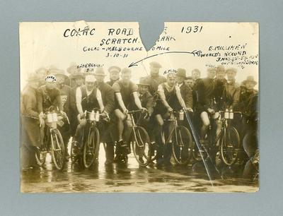 Black and white photograph of  Ernie Milliken and  other competitors 1931 Colac-Melbourne 100 Miles