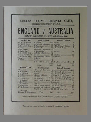 Scorecard facsimile, England v Australia, Surrey CCC, Kennington Oval, 6 Sept 1880