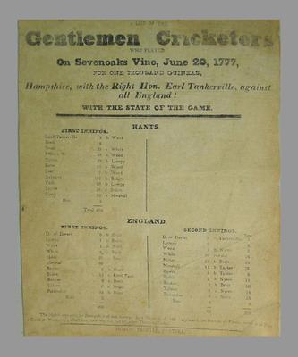 Scorecard, Earl Tankerville's Hampshire v All England, Sevenoaks Vine 20 June 1777