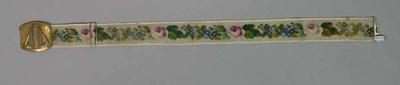 Cricketers' tapestry belt with buckle inscribed 'The Australian Team', circa 1864