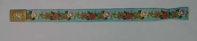 Cricketers' tapestry belt with buckle image of cricketing group by gate, c.1860