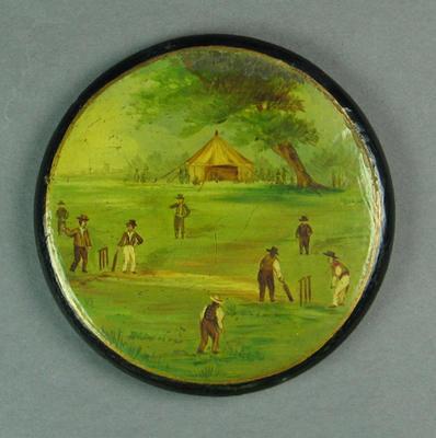 Snuff box lid, cricket design