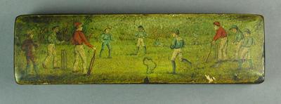 Papier mache pencil case with cricket game image on case top