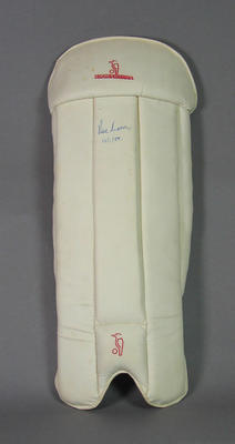 Pair of wicketkeeping pads autographed and dated by Rodney Marsh, 13/1/88