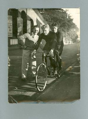 Black and white photograph of  Ernie Milliken and Wally 'Hefty' Stuart, finish of the London/Brighton Tandem Race, 1935