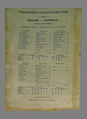 Scorecard for England v Australia Test match, 27-29 May 1909