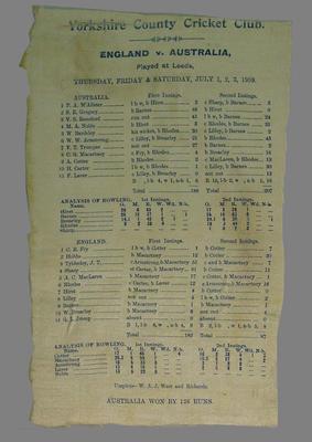 Scorecard:  England v Australia, 1-3 July 1909, Leeds, Yorkshire C.C.C.