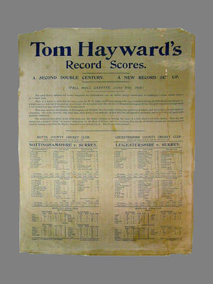 Handbill:  Tom Hayward's Record Scores, 2nd Double Century 4-9 June 1906 - Nottinghamshire v Surrey, Leicestershire v Surrey