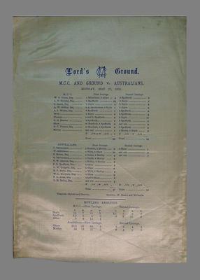 Scorecard:  M.C.C. and Ground v Australians, 27 May 1878, Lord's Ground