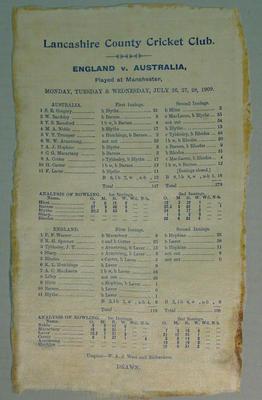 Scorecard:  England v Australia, 26-28 July 1909, Manchester, Lancashire C.C.C.